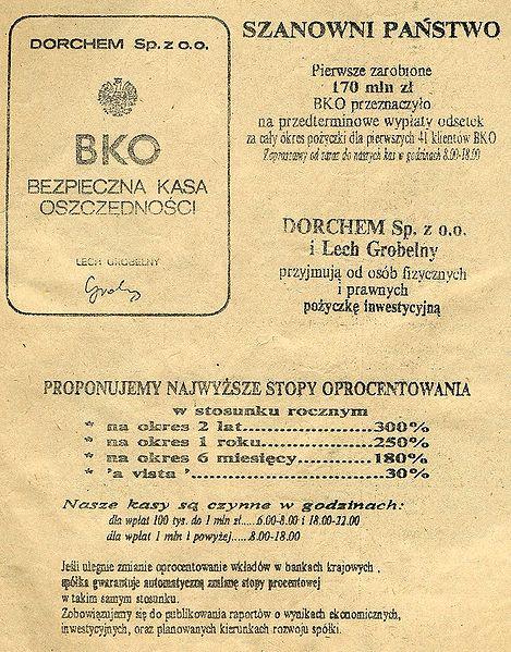 Reklama prasowa BKO z końca 1989 roku