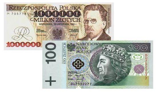 banknoty o nominale 1000 zł oraz 100 zł
