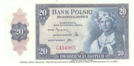 banknot 20 zł z 1939 r.
