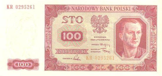 Awers stuzłotowego banknotu z 1948 roku
