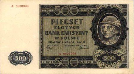 Banknot 500 zł z okresu okupacji