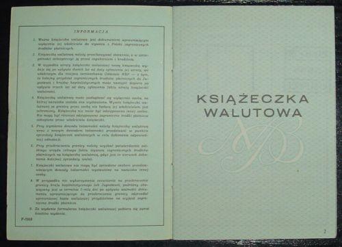 Książeczka walutowa z 1979 roku