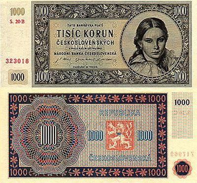 1000 koron czechosłowackich z 1945 roku
