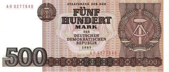 Awers banknotu o nominale 500 marek, który nie wszedł do obiegu