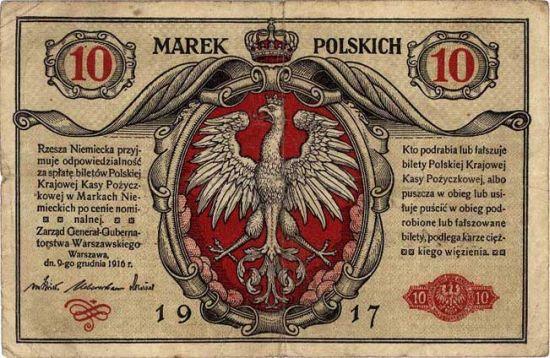 Banknot o nominale 10 marek polskich z 1916 roku