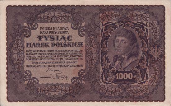 Banknot o nominale 1000 mkp z 1919 roku