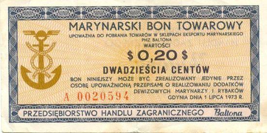 Bon towarowy Baltona o wartości 20 centów)