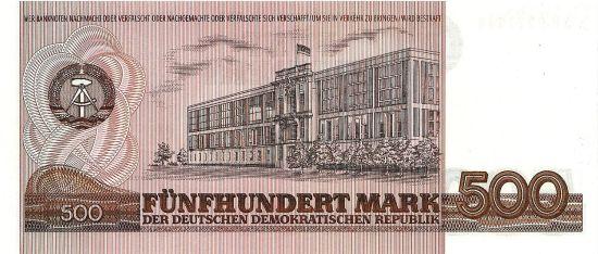 Rewers banknotu 500 marek, który miał wejść do obiegu w połowie lat 80.