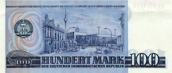 Rewers banknotu stumarkowego - centrum Berlina Wschodniego