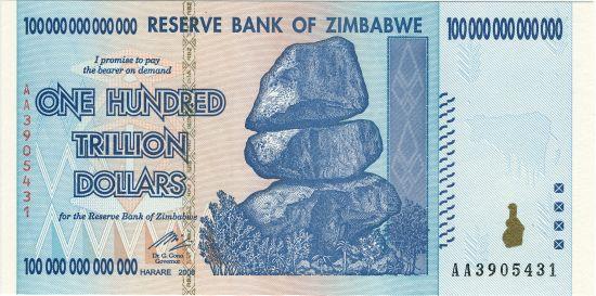 Sto bilionów dolarów zimbabweńskich