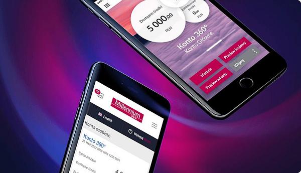 stan konta w aplikacji banku millennium